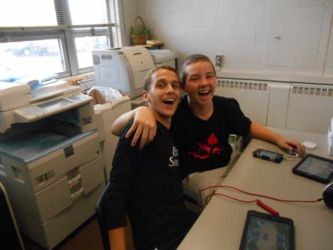 Sophomores Nicco Libertini and Ryan Loveless serve as approved aides in the Main Office during first period.