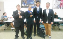 Freshmen Grant Dunker, Dorin Young, Alec Glass, and Jeffrey Cranford more than meet the dress code on Fancy Wednesday.