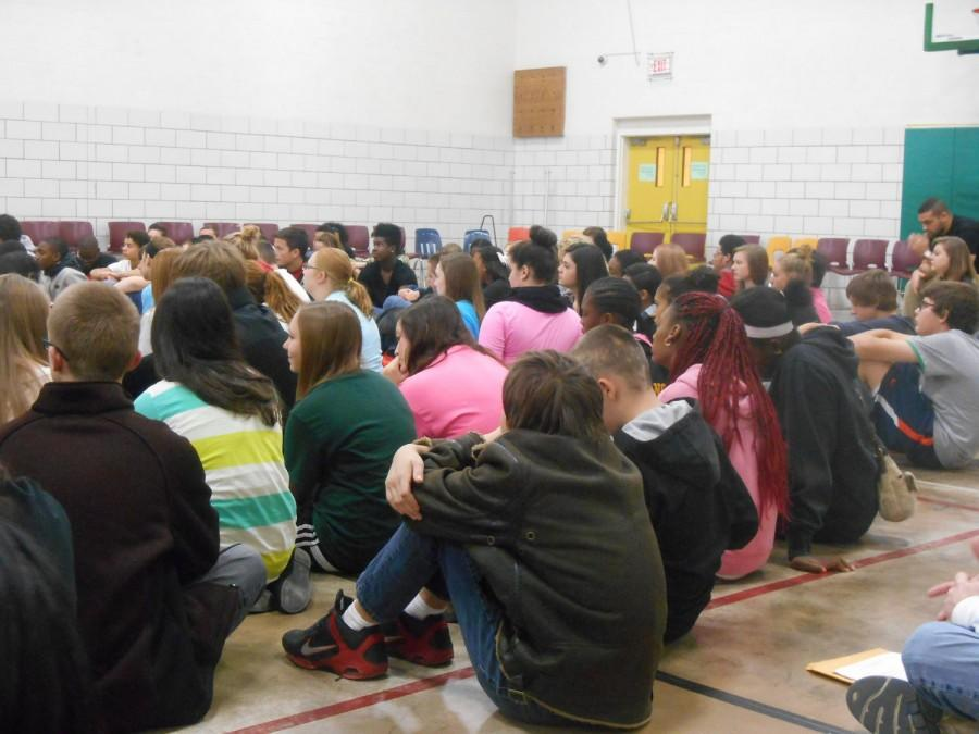 Freshmen+sit+in+the+small+gym%2C+listening+to+one+of+the+talks+during+Unity+Day+%28photograph+by+senior+Amari+McCain%29.