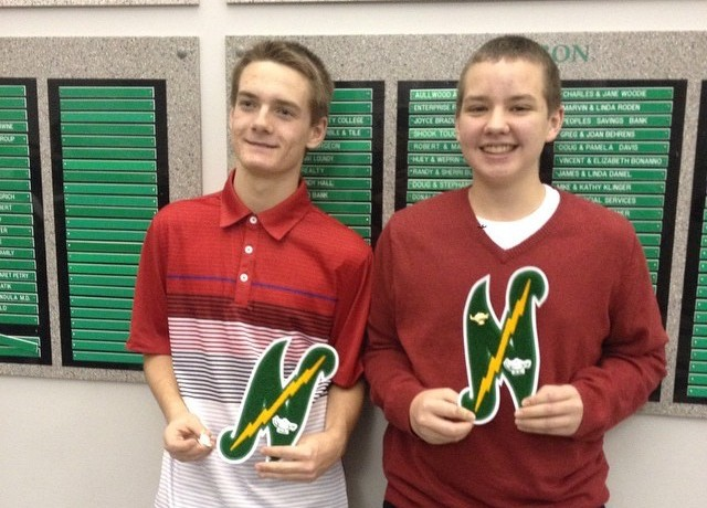 Sophomores+Justin+Schuh+and+Ryan+Loveless+received+their+letter+awards+at+the+Northmont+honor+society+induction+on+December+2.