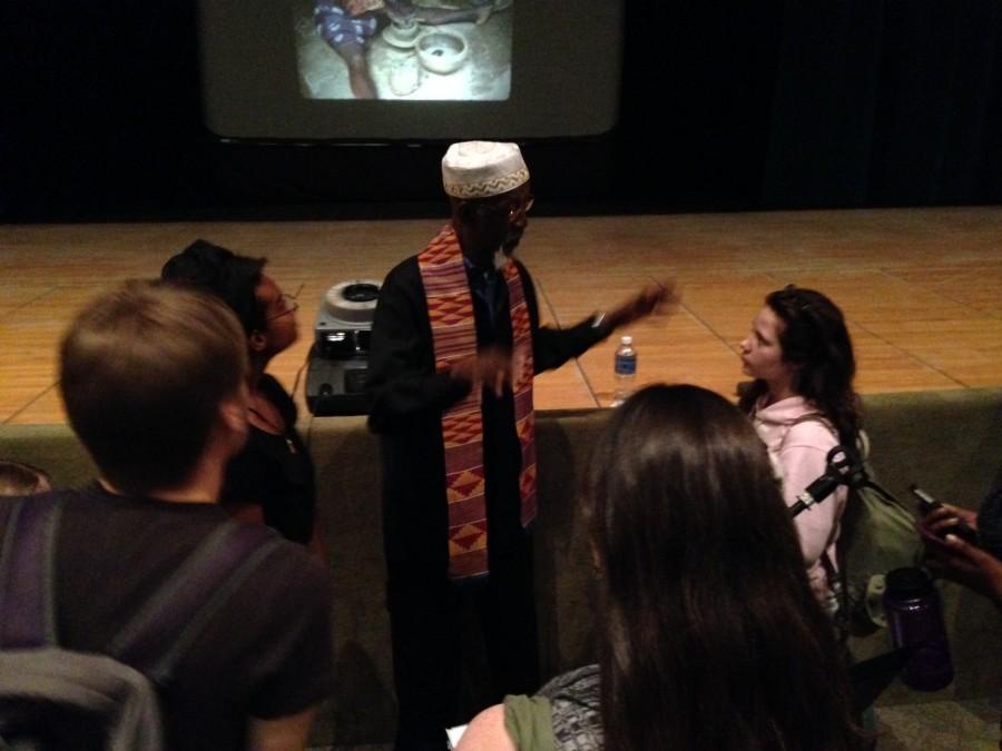 Mr. Bing Davis talks to students after his presentation on October 30.