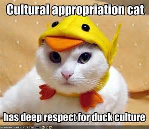 The Cultural Appropriation Cat is a fun-loving meme found on blogs.