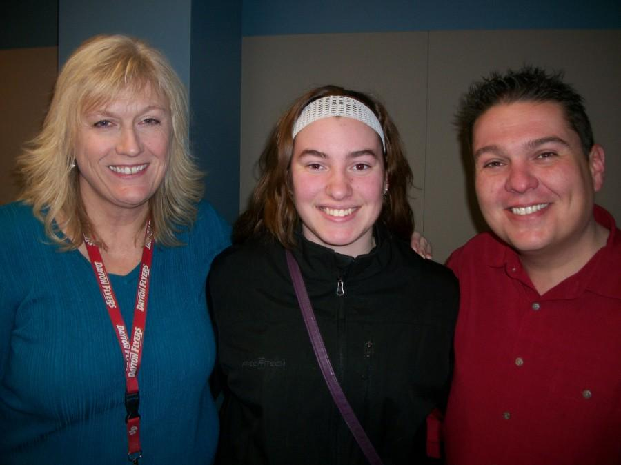 Northmont senior and Surge editor Mary McKinney visits K99.1FM The Breakfast Club co-hosts Nancy Wilson and Frye Guy.