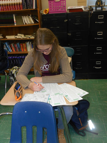 Foreign Exchange student Sia Skoryk tackles American mid-terms.