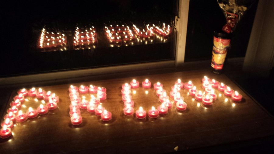 Senior Adrian Matzke used candles to ask his girlfriend, senior Cassie Boegel, to prom.