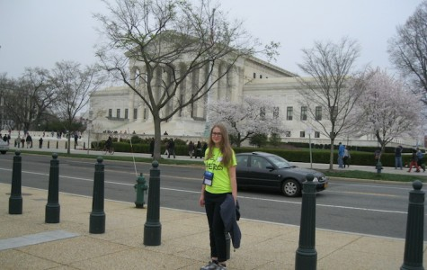 Foreign Exchange student Sia Skoryk stands in front of the Smithsonian in Washington, D.C.