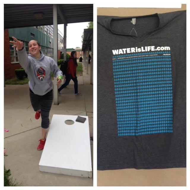 Junior Ashley Trottier plays with a broken arm to support the charity Water is Life; t-shirts are available for donors.