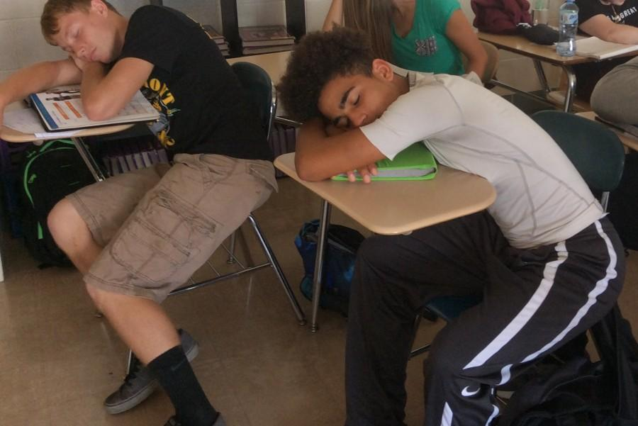 Early start times take their toll on freshmen Cole Bridges and Drake Hickman in Ms. Sarah Gosser's Spanish class.
