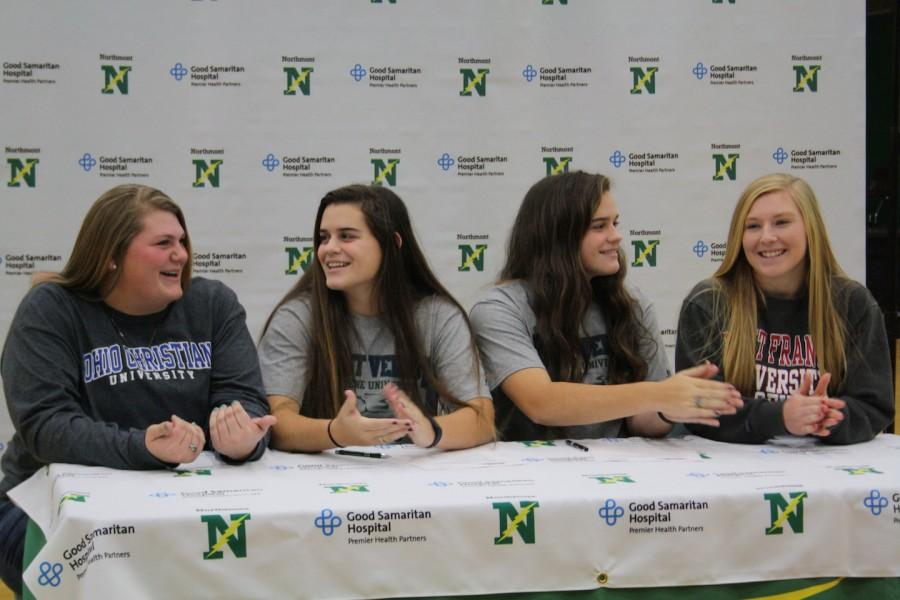 Senior+softball+players+Whitney+Fiedler%2C+Emily+and+Lizzie+Ritchie%2C+and+Taylor+Hoover+discuss+their+futures+as+college+athletes.