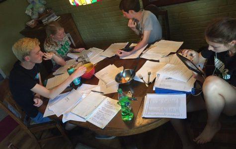 Sophomores John Pierron, Alison Hamant, Austin Schroeder, and Aubrey Kosak studying for their AP United States History test.