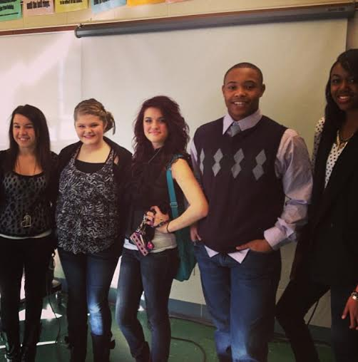 Senior D.J. Hudson as a freshman with Journalism I classmates four years ago. Second from left is senior Rylie Richard and far right is senior Jaylin Paschal, both of which spent four years in Journalism alongside Hudson.