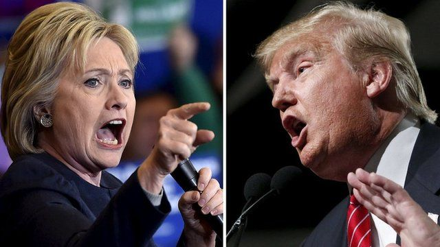 The 2016 presidential candidates, Hillary Clinton and Donald Trump, argue against one another.
