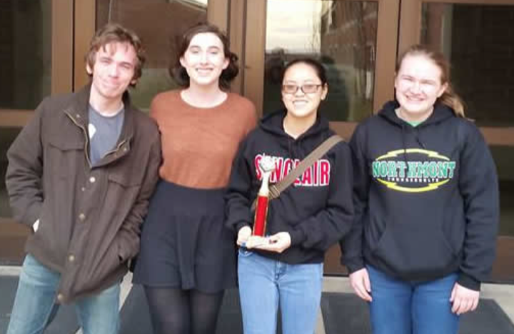 The Northmont Academic Challenge Team members junior Ryan Laing, junior Caitlin Hoyng, senior Kara Combs, and middle school student Samantha Street celebrate their win at the Van Wert Invitational (photo courtesy of Mr. David Jones).