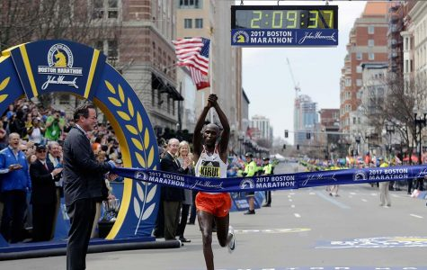 Geoffrey Kirui wins the Boston Marathon (courtesy of ABC).