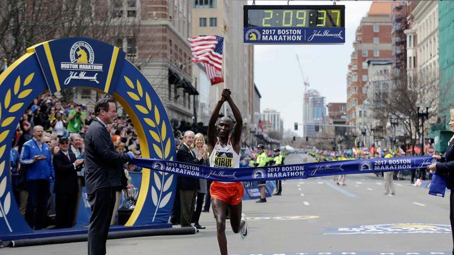 Geoffrey Kirui wins the Boston Marathon (courtesy of ABC).