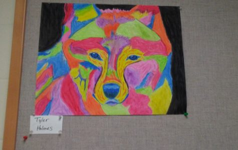Wolf oil pastel painting by senior Tyler Holmes will be entered into the art show.