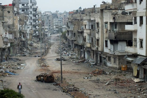 Search 'Syria' in Google, and pictures of destroyed Syrian cities will appear (courtesy of BBC).