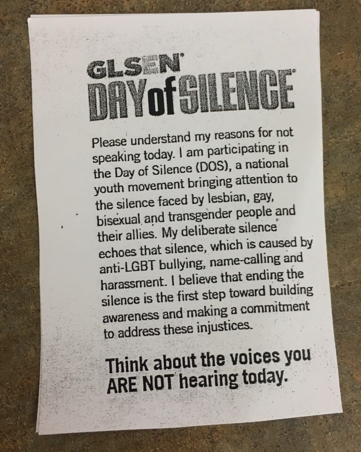GSA distributed a flier explaining Day of Silence to participants.