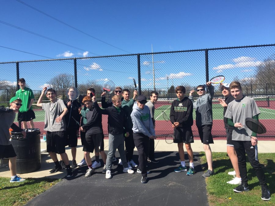 The+boys+tennis+team+try+out+their+pots+and+pans+after+the+prank.+%28photo+courtesy+of+Michelle+Hibbard%29.+