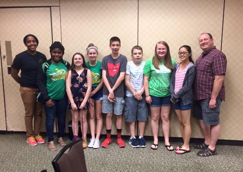 The 2016-2017 Middle School Academic Challenge Team competes at Nationals in Dallas, Texas. Pictured from left to right: High School Assistant Coach Emily Bingham, current freshmen Amara Nwanoro, Allie Stormer, Rachel Peffley, Sean Scranton, Zach Weeks, Samantha Street, Coach Kara Combs, and High School Coach David Jones.