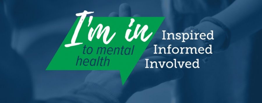 The symbol for Mental Health Awareness Week 2017 features two people supporting each other by holding on to each other's arms (courtesy of NAMI).