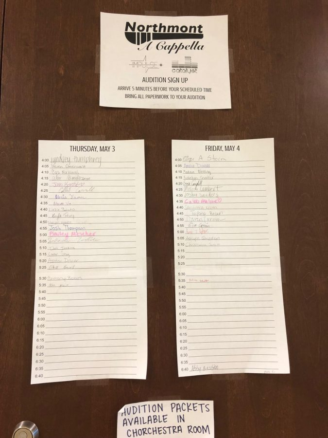Students can sign up for a capella auditions outside the chorchestra room.