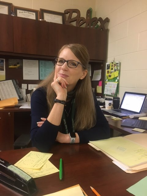 Ms. Sheree Coffman in her office, room 1107.