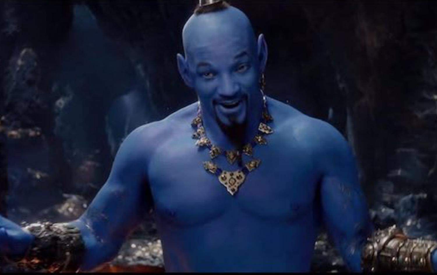 Will Smith as the genie in Disney's live action Aladdin (image courtesy of Disney's Aladdin trailer)