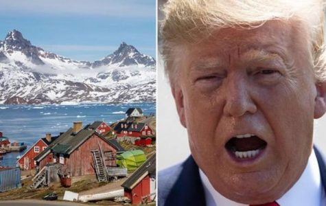 Trump next to picture of Greenland. Image credit: express.co.uk