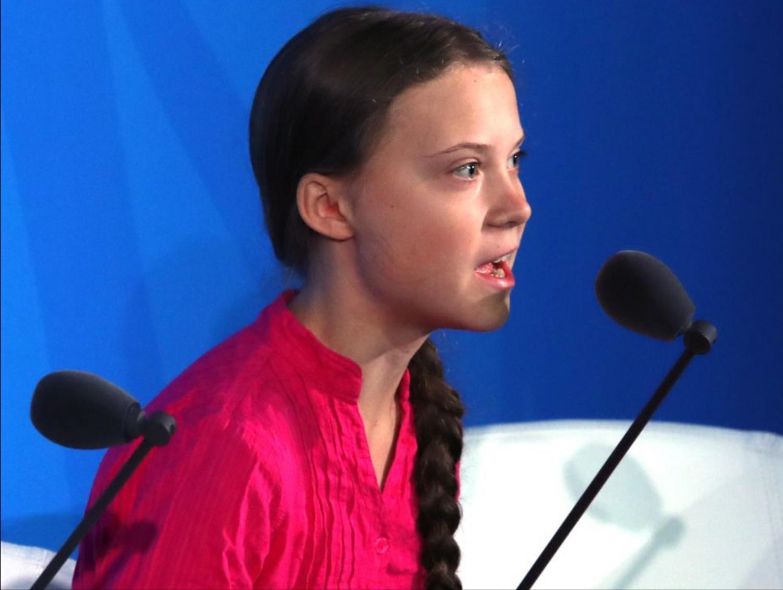 Greta Thunberg giving her speech. Image courtesy of vox.com