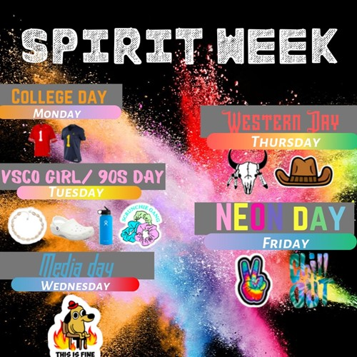 A picture of the spirit week flyer (Northmont High School).