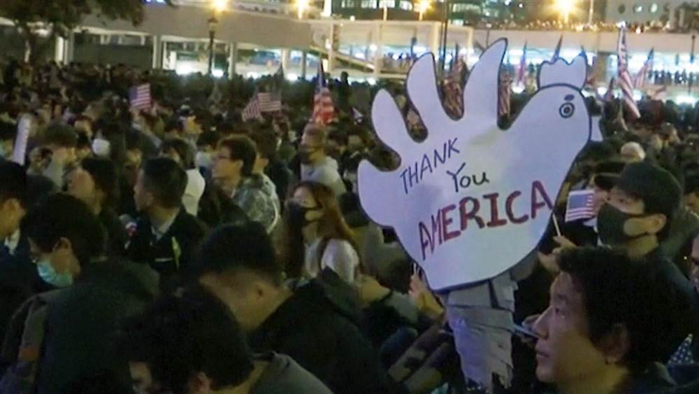 Hong Kong thanks America after President Trump sides with the protesters (courtesy of NBC News).