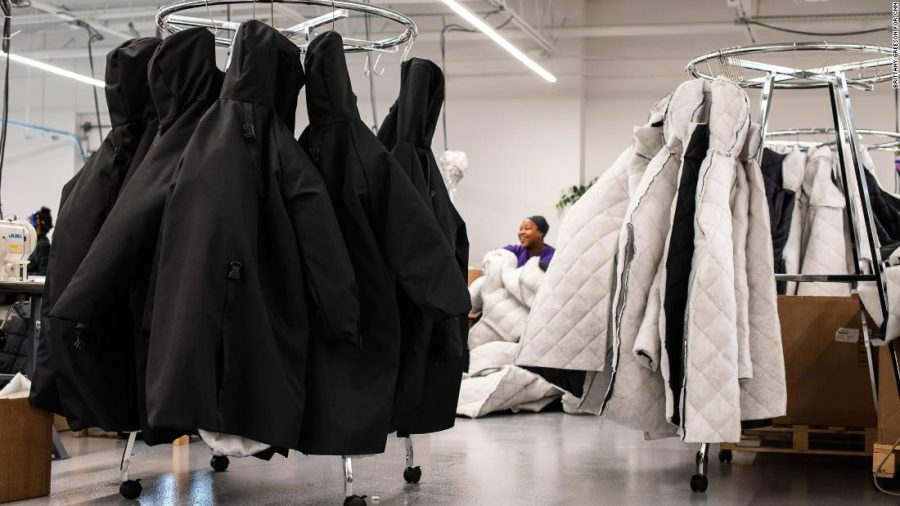 Coats in the process of being made.