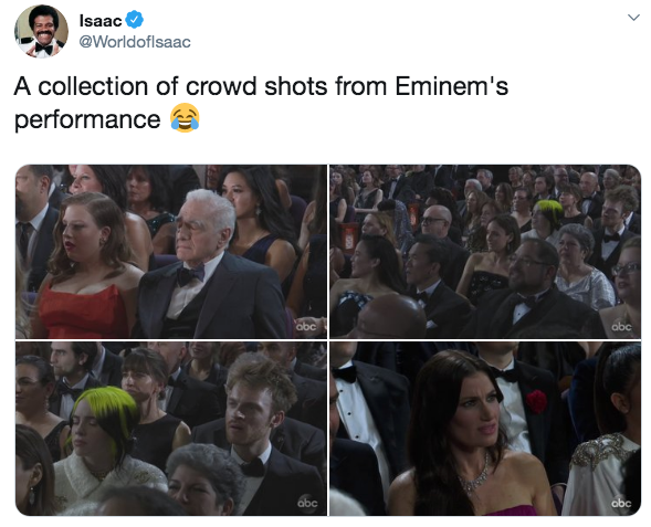 Shocked faces from Eminem's performance.