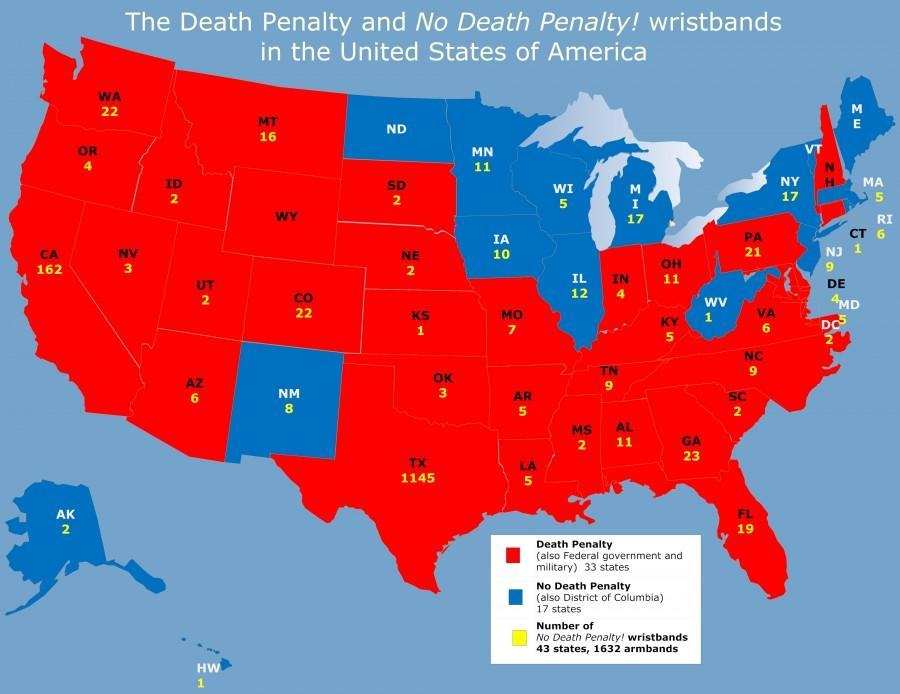 On+the+map+above%2C+states+in+red+still+use+the+death+penalty.+States+in+blue+have+abolished+the+death+penalty.+The+yellow+number+indicates+how+many+%27no+death+penalty%21%27+armbands+are+in+each+state%2C+a+cyber+campaign+to+educate+the+public+about+how%2C+why%2C+and+to+whom+executions+happen+in+this+country+and+to+abolish+state-sponsored+killings.+Photo+courtesy+of+armbandprotest.net