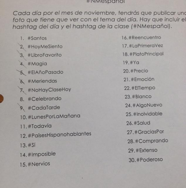 The daily hashtags being used in Ehninger's Spanish III and IV classes.