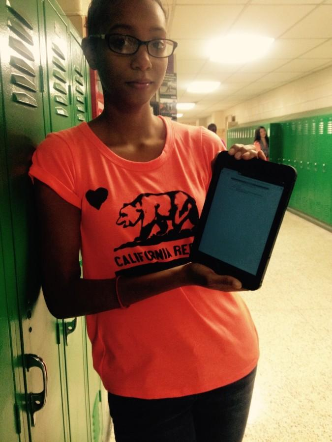 Freshman Alecia James shows yet another website blocked by Northmont's filtering system.