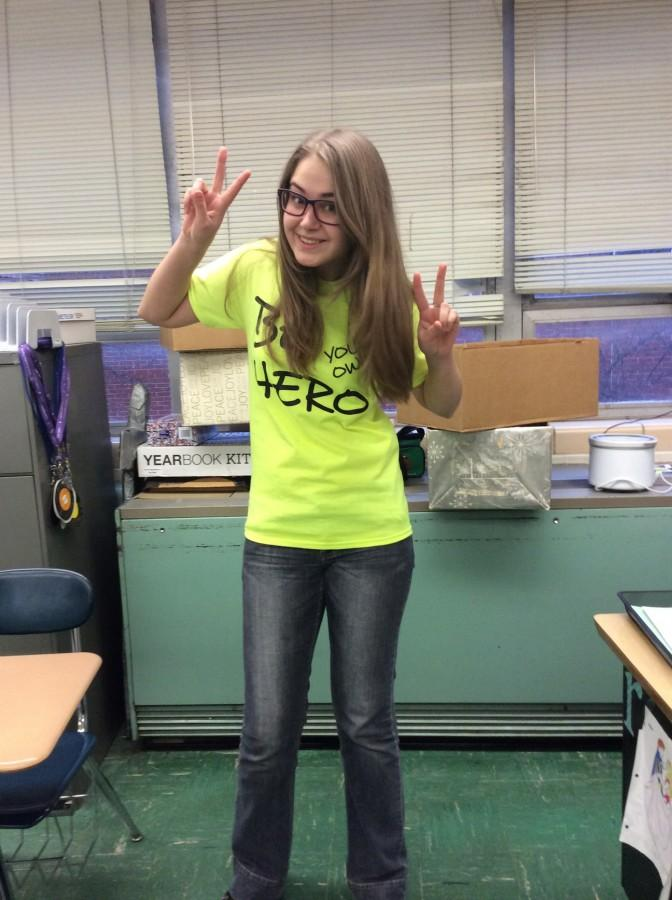 Foreign exchange student Sia Skoryk wears her new SADD t-shirt which declares
