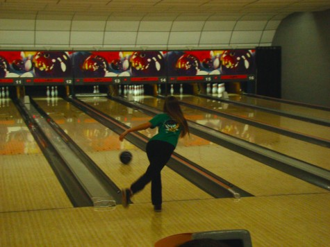 Junior Taylor Herchenbach bowls at Thunderbowl, the site of Northmont's home matches (Photo courtesy of Michelle Hibbard, Northmont Yearbook).