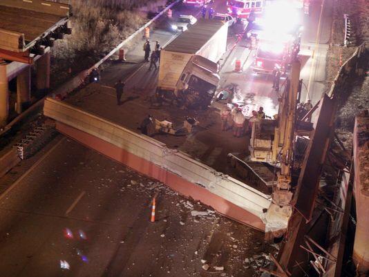 The collapsed bridge in Cincinatti