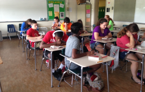 One of Ms. Kathryn Abels' ninth grade advanced Language Arts sections who had to read two books over the summer.