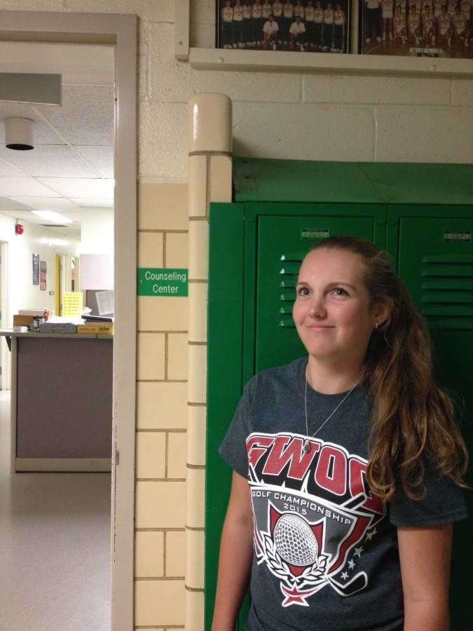 Sophomore Maddie Jaehnen stands in front of the counseling center confused and frustrated because she had to change her schedule twice.