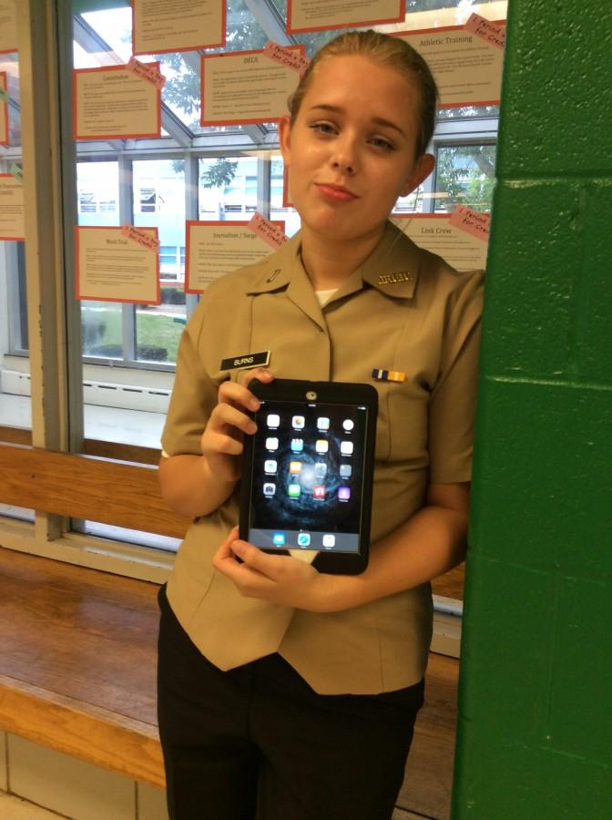 Freshman Hailey Burns is upset there is no App Store on her iPad.