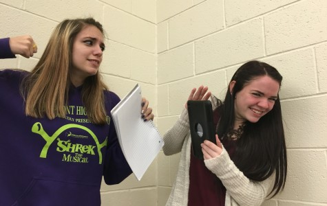Senior Shelby Didier and sophomore Sammie Helmund depict the iPad versus paper debate.