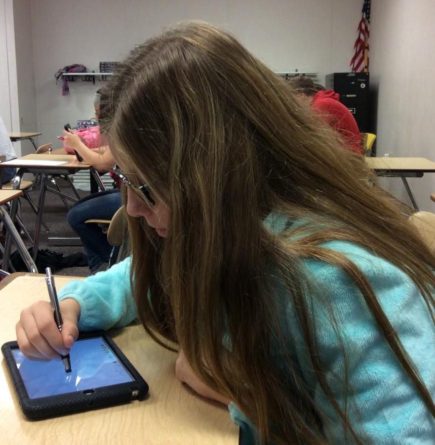 Freshman Morgan Saul working on advanced geometry.