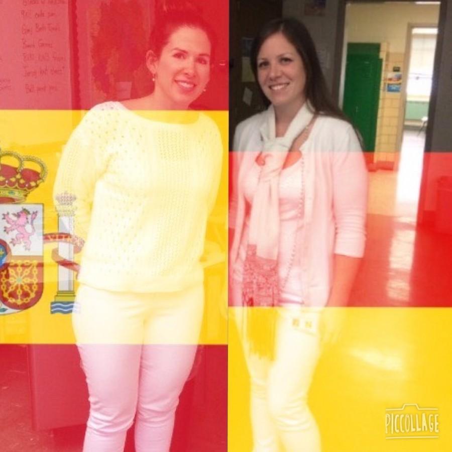 Spanish+teacher+Ms.+Sarah+Gosser+%28left%29+and+German+teacher+Ms.+Galaise+%28right%29.