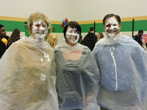 Superintendent Dr. Sarah Zatik, art teacher Ms. Christine Hall, and assistant superintendent Mr. Tony Thomas received a pie in the face during the Activity Fair.