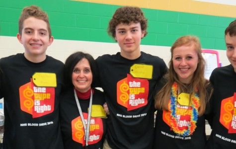 Ms. Kathryn Abels, sophomore Christian Myers, Ms. Julie Marshall, sophomore Carson Wagner, senior Mallory Woods, and junior Matt Bridenbaugh were all involved with the 2016 Blood Drive (photo courtesy of Mark Pompilio, Community Blood Center).