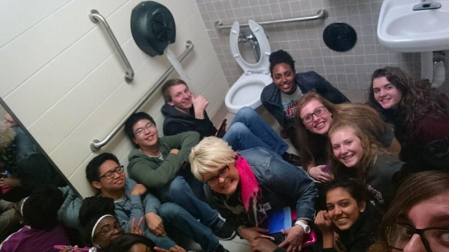Ms. Rachel Brannon's sixth period class found shelter in the men's restroom of the Social Studies workroom (photo by Nikki Demetriades).