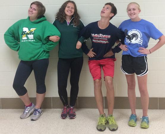 Sophomore Morgen Tracey,  junior Sofia Sjoeberg, freshman Drew Haker, and freshman Jenna Stowers at cross country practice.